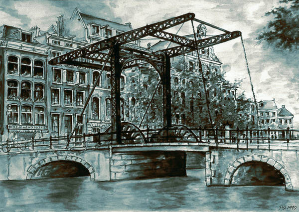 Painting - Old Amsterdam Bridge In Dutch Blue Water Colors by Peter Potter