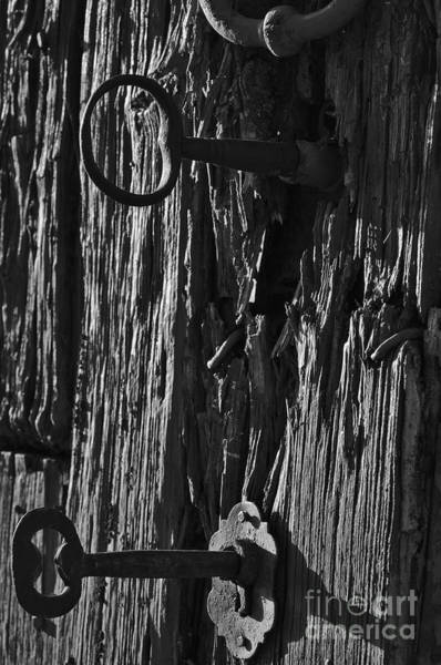 Old And Abandoned Wooden Door With Skeleton Keys Art Print