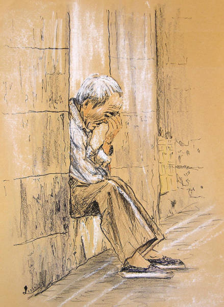 Drawing - Old And Lonely In Spain 01 by Miki De Goodaboom