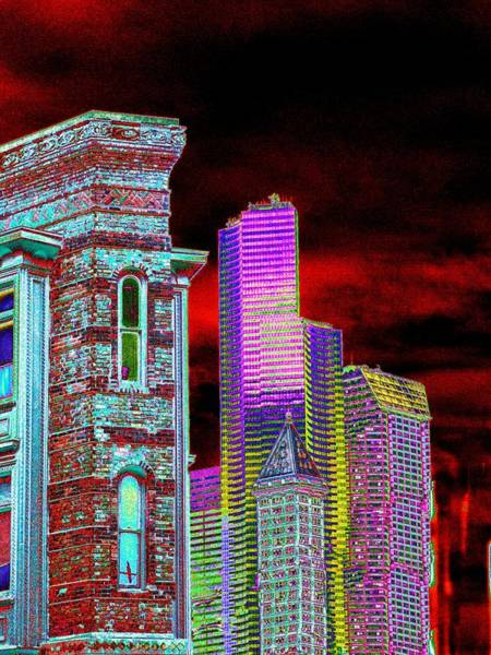 Highrise Digital Art - Old And New Seattle by Tim Allen