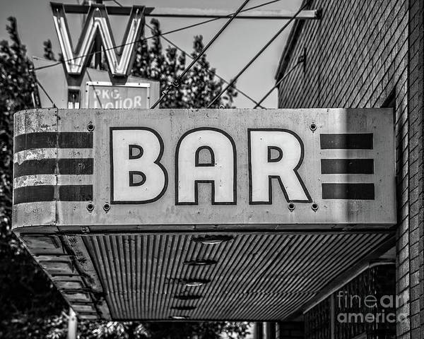 Neon Photograph - Old Bar Sign Livingston Montana Black And White by Edward Fielding