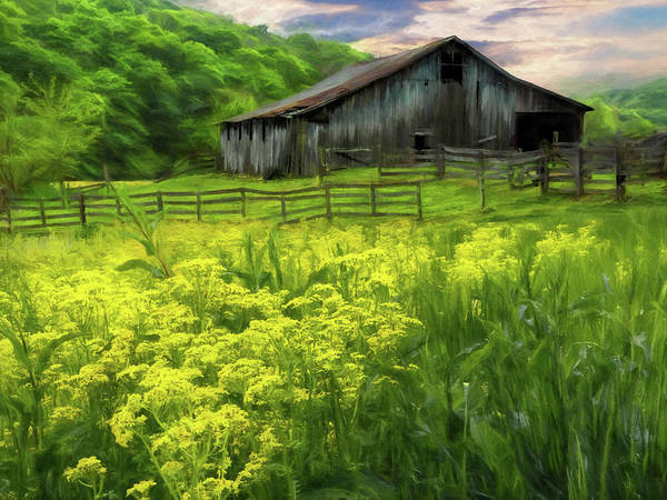 Hillside Wall Art - Digital Art - Old Barn by Elijah Knight