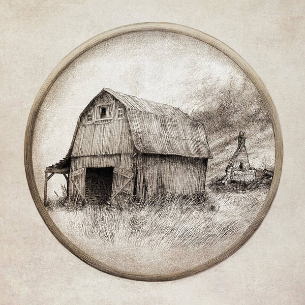 Grass Field Drawing - Old Barn by Eric Fan