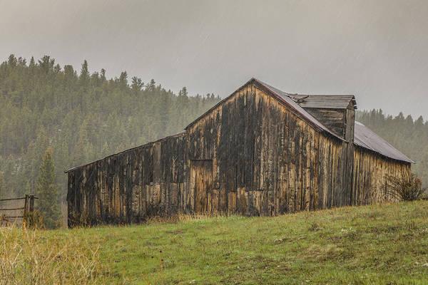 Wall Art - Photograph - Old Barn In The Rain by Teresa Wilson