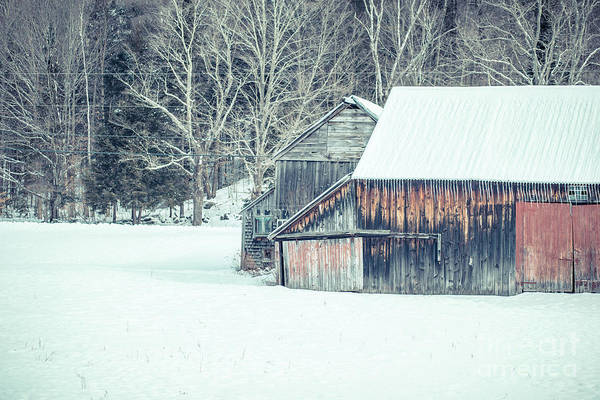 Photograph - Old Barn In The Snow Croydon New Hampshire by Edward Fielding