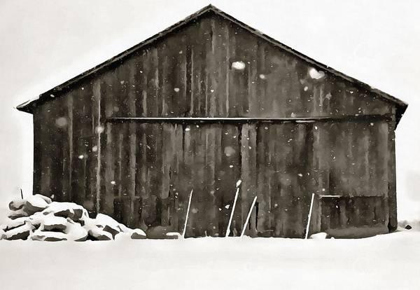Digital Art - Old Barn In Winter by Dan Sproul