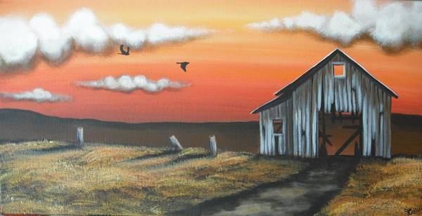 Wall Art - Painting - Old Barn On Hill by Jana Caissie