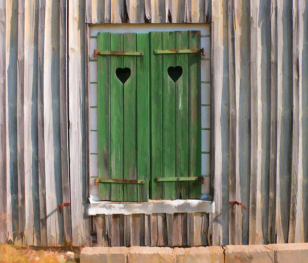 Wall Art - Digital Art - Old Barn Shutters With Hearts by Antique Images