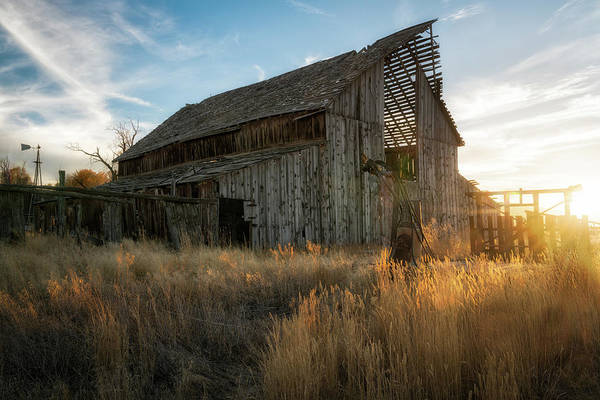 Photograph - Old Barn Sunset by James Udall