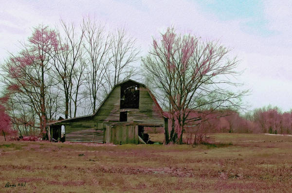 Digital Art - Old Barn With Grunge by Bonnie Willis