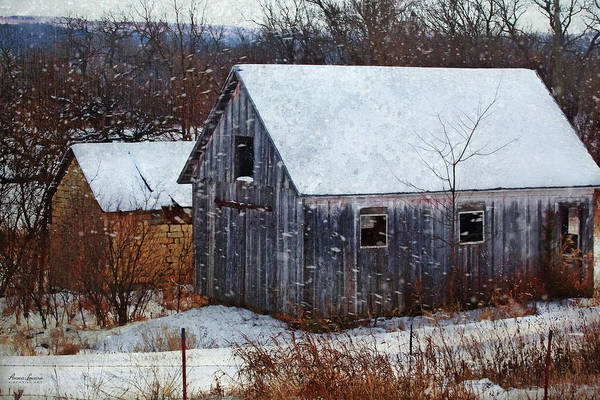 Photograph - Old Barns In Snow by Anna Louise