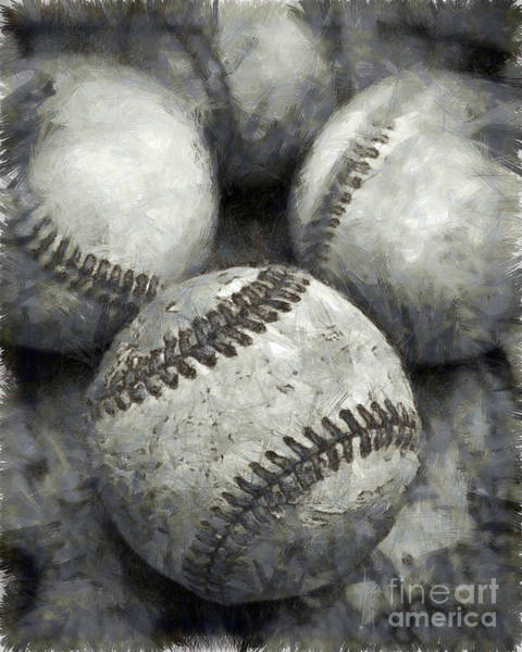 Baseballs Photograph - Old Baseballs Pencil by Edward Fielding
