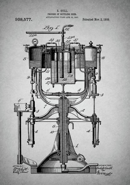 Whiskey Mixed Media - Old Beer Bottling Patent by Dan Sproul