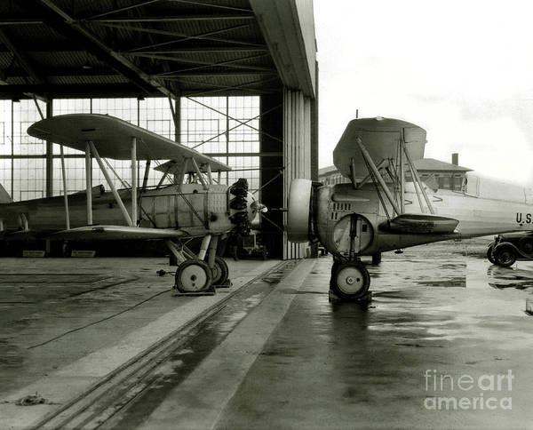 Wall Art - Photograph - Old Biplanes In A Hanger  by Jon Neidert
