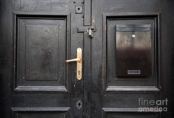 Wall Art - Photograph - Old Black Closed Door by Arletta Cwalina