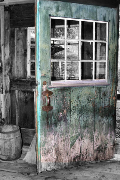 Photograph - Rustic Blue - Green Door  by Betty  Pauwels