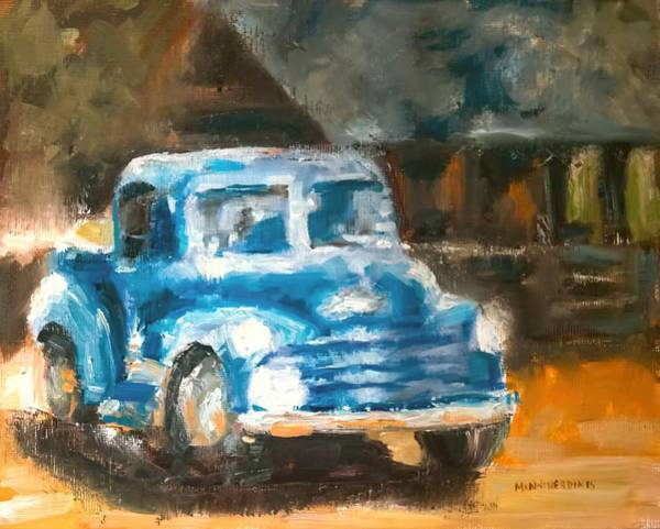 Old Chevy Truck Painting - Old Blue by Melissa Herrin