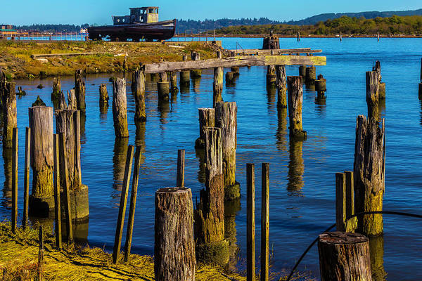 Dry Dock Photograph - Old Boat And Pier Posts by Garry Gay