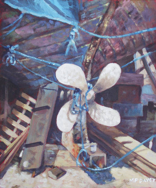 Wall Art - Painting - Old Boat Propeller by Martin Davey
