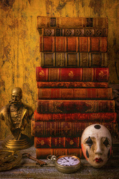 Wall Art - Photograph - Old Books And Mask by Garry Gay