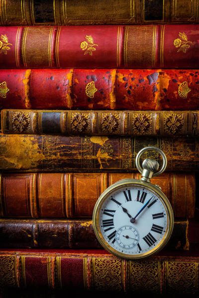 Minute Photograph - Old Books And Pocket Watch by Garry Gay