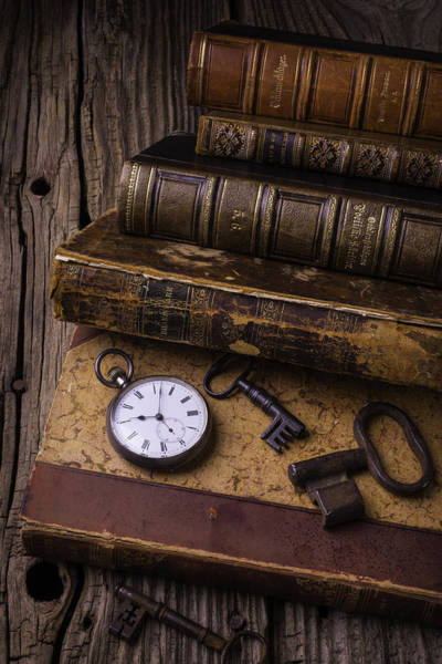 Photograph - Old Books And Watch by Garry Gay