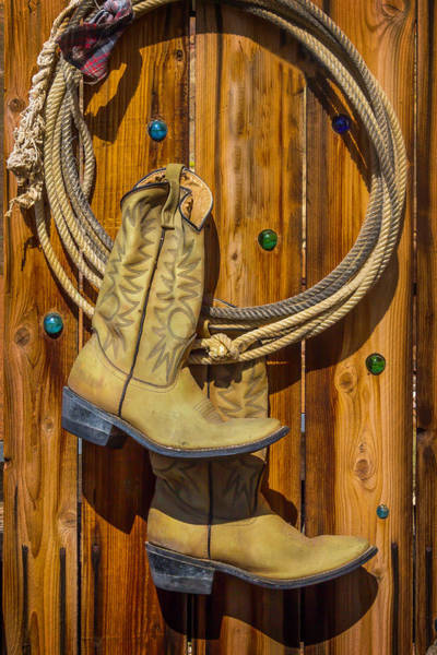 Wooden Shoe Photograph - Old Boots And Rope On Fence by Garry Gay