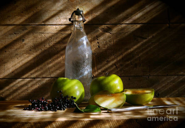 Wall Art - Photograph - Old Bottle With Green Apples by Sandra Cunningham