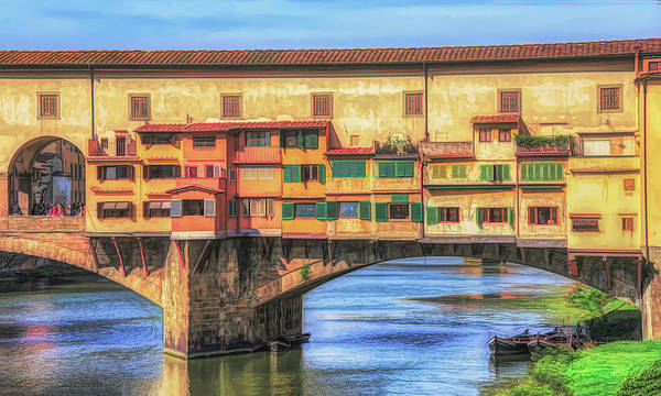 Photograph - Old Bridge In Florence Italy Painterly by Gary Slawsky