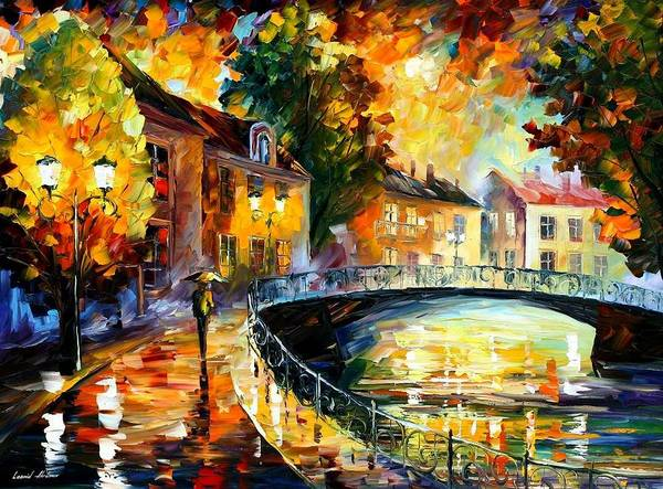 Leonid Wall Art - Painting - Old Bridge by Leonid Afremov