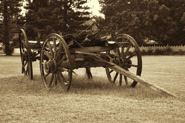 Photograph - Old Broken Covered Wagon by Pamela Walton