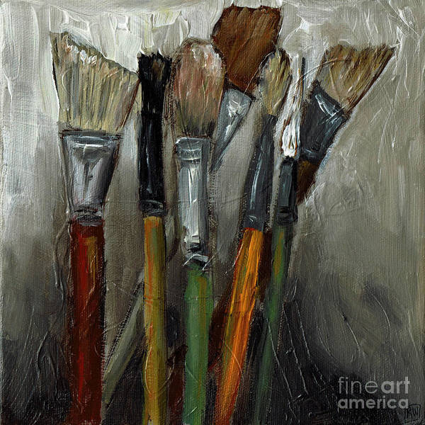 Wall Art - Painting - Old Brushes by Robin Wiesneth