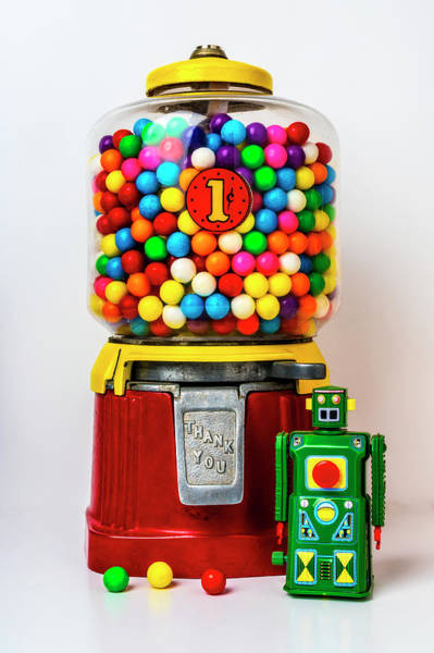 Wall Art - Photograph - Old Bubblegum Machine And Green Robot by Garry Gay