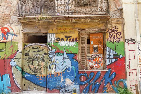 Wall Art - Photograph - Old Building Graffiti In Athens Psirri Neighborhood by Iordanis Pallikaras