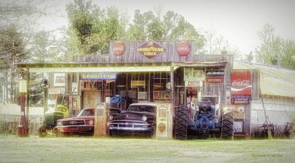 Digital Art - Old Building With Old Vehicles by Bonnie Willis