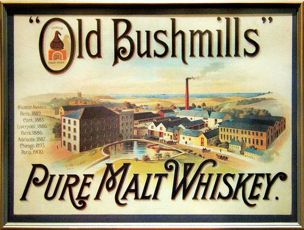 Wall Art - Photograph - Old Bushmills Irish Whiskey. Old Advertising Poster by David Lyons