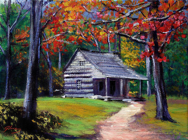 Cabin Wall Art - Painting - Old Cabin Plein Aire by David Lloyd Glover