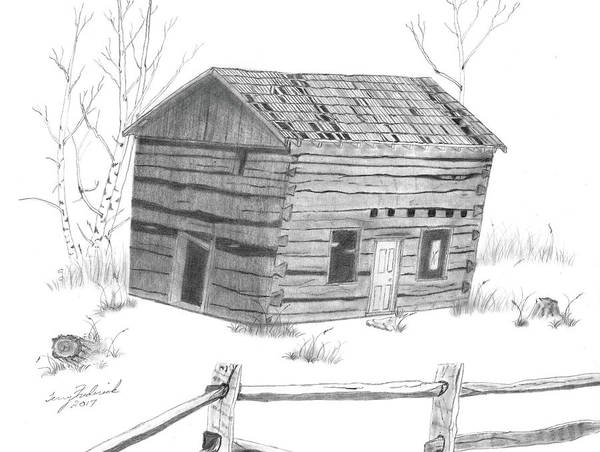 Drawing - Old Cabin by Terry Frederick