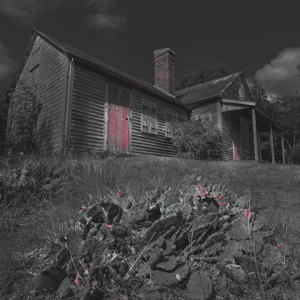 Wall Art - Photograph - Old Cape Cod House Black And White With Red by Dapixara Art
