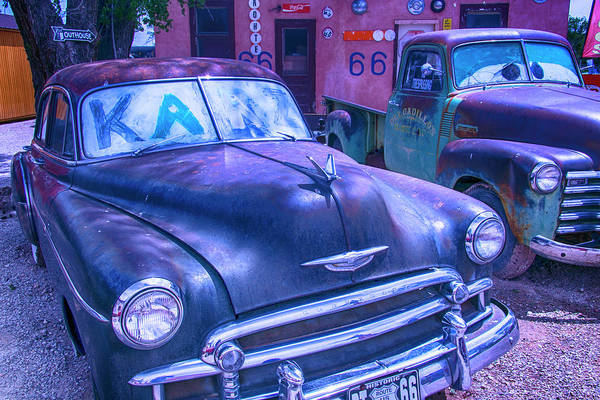 Junk Wall Art - Photograph - Old Car And Pickup Route 66 by Garry Gay