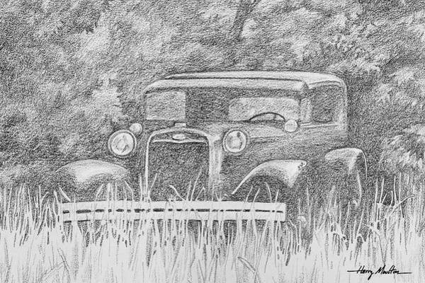 Drawing - Old Car At Rest by Harry Moulton
