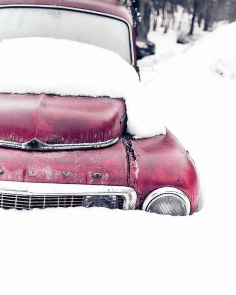 Buried Wall Art - Photograph - Old Car In A Snow Bank by Edward Fielding