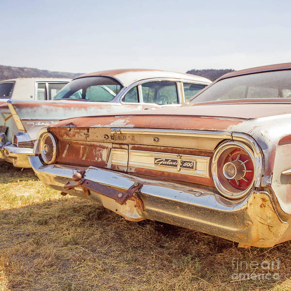 Wall Art - Photograph - Old Cars At A Junkyard Utah by Edward Fielding