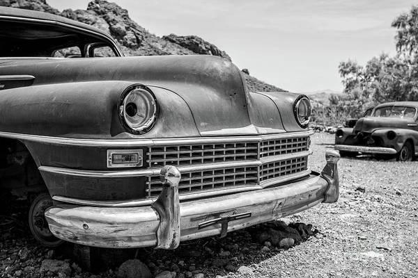 Photograph - Old Cars In The Desert, Eldorado Canyon, Nevada Bw by Edward Fielding