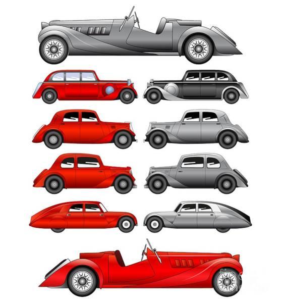 Digital Art - Old Cars by Michal Boubin