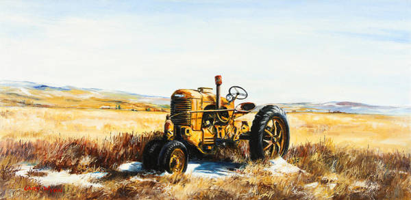Vintage Tractor Painting - Old Case Tractor by Gary Wynn