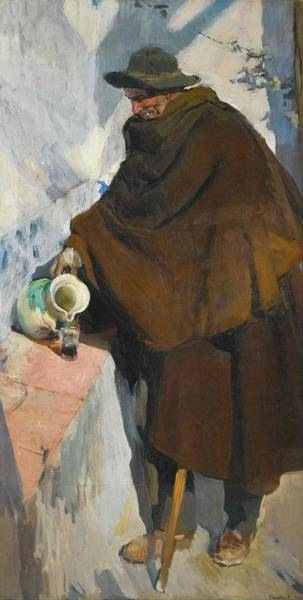 Spanish Wine Painting - Old Castilian Making Use Wine by Joaquin Sorolla