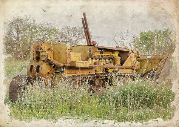 Bulldozer Photograph - Old Cat Watercolor II by Ricky Barnard