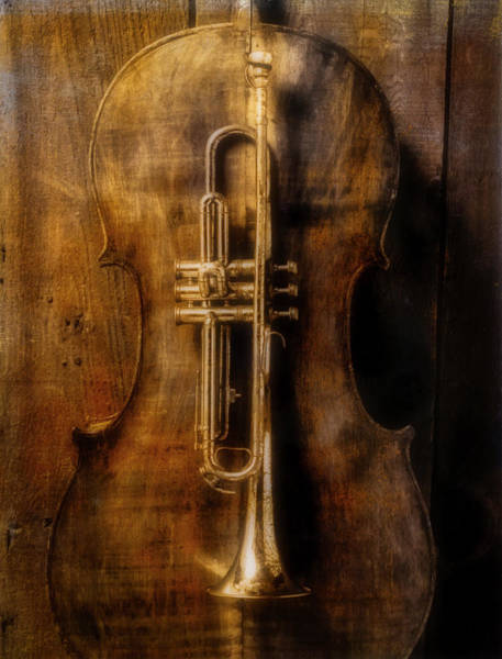 Bluegrass Photograph - Old Cello And Trumpet by Garry Gay