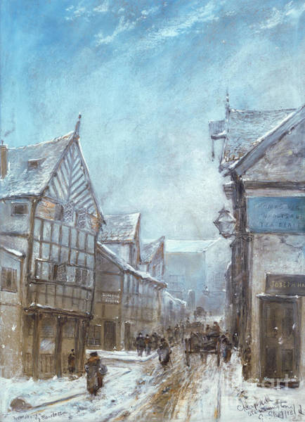 Wall Art - Painting - Old Cheapside, Warrington, 1864 by George Sheffield